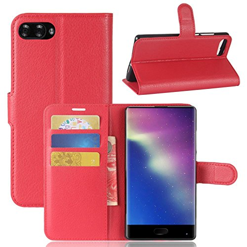 Tasche für Doogee MIX Hülle, Ycloud PU Kunstleder Ledertasche Flip Cover Wallet Case Handyhülle mit Stand Function Credit Card Slots Bookstyle Purse Design rote