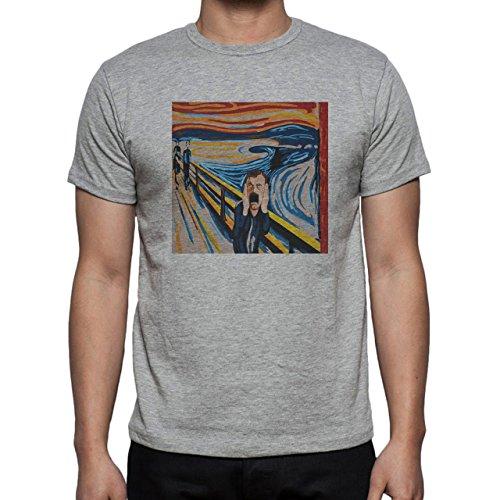 Munch Scream Dennis Mccann Man Herren T-Shirt Grau
