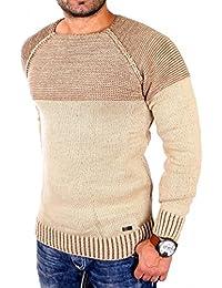 Reslad Strickpullover Herren Two Tone Rundhals Pullover Grobstrick RS-16081