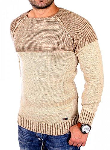 Reslad Strickpullover Herren Two Tone Rundhals Pullover Grobstrick RS-16081 Camel L