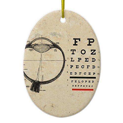 Weihnachtsschmuck für Bäume Vintage Augenarzt Optometrie Eye Chart Ornament, oval Ornament Keramik Crafts für Mädchen xmas Decor