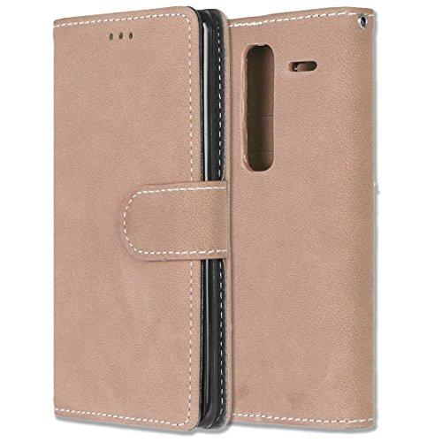 LG Zero / Class / H740 Hülle, Chreey Matt Leder Tasche Retro Handyhülle Magnet Flip Case mit Kartenfach Geldbörse Schutzhülle Etui [Khaki]