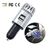 EFORCAR Purificatore d'aria per auto ionico - Deodorante per auto con ionizzatore luce LED blu e 2 prese per porte USB Rimuovi odore di cattivo odore