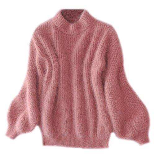 Frauen Pullover Lange Ärmel Gestrickter Strickpullover Rundhals Casual Outwear Mantel Faux Woll Strickpulli Gummi Pink