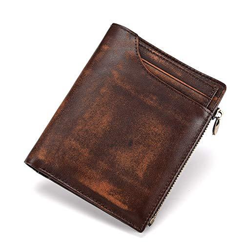 Multifunktionale Kurze Geldbörse braun 10cm * 12,3cm * 2cmRobustes doppeltes Falten - Visitenkartenhalter - Münztasche - Box usw. für mehrere Zwecke -