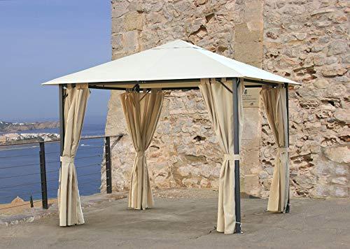Quick-Star Metall Garten Pavillon Nizza 3x3m Antik Partyzelt Sand mit 4 Seitenteilen