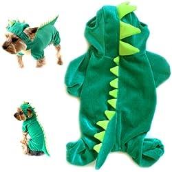 gollyking perro gato con capucha ropa prendas de vestir disfraz de dragón dinosaurio de peluche con cuatro patas para mascotas pequeñas perro Mono abrigo de invierno caliente camisas de piel de cocodrilo