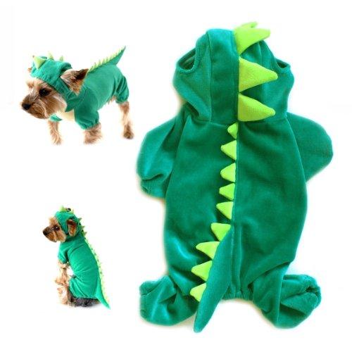 Gollyking Drachen-Kostüm für Hunde und Katze, mit Kapuze, Plüsch, mit vier (Kostüm Triceratops Katze)