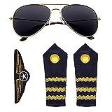 Widmann 00085 Piloten Set 3-teilig, Unisex-Kinder, Blau/Gold, Einheitsgröße