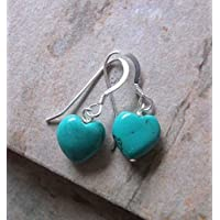 Turquoise Heart Drop Earrings, Gifts for Her