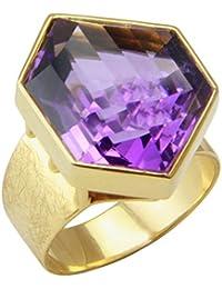 Joyas de diseño skielka Amatista anillo oro forja (oro 585) - oro anillo con amatista 19.99 quilates - Anillo de amatista con experiencia