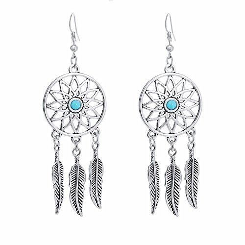 Gaddrt Ohrringe, Silberlegierung, modisch, Bohemian-Stil, Retro-Stil, indischer Traumfänger, Ohrringe