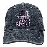 Sconosciuto Berretto da Baseball Regolabile Unisex Vintage Jeans La Vita è Migliore sul Berretto Semplice River