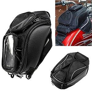 Bolsa de tanque de la motocicleta Oxford alforja magnética con ventana grande 48.5 * 37 cm Universal asiento trasero bolsa de sillín herramienta de viaje equipaje de la cola