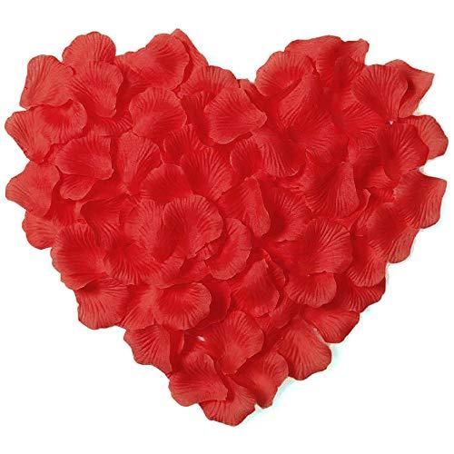 Amaoma Rosenblätter Rot Künstlich 3000 Stück Rosenblüten Deko Blütenblätter Hochzeit Kunstrosenblätter für Heiratsantrag Party Dekoration und Romantische Atmosphäre Valentinstag