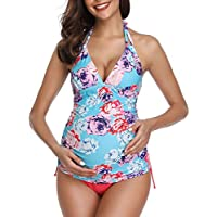Summer Mae Maternity Swimming Costume Triangle Halter Tankini Blue M