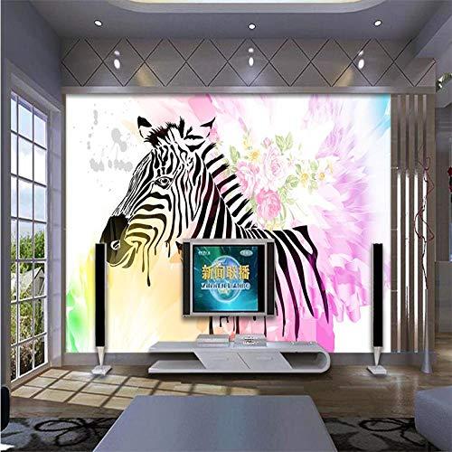 Fototapete Jede Farbe spritzt Tinte Rose Zebra Wohnzimmer Schlafzimmer Hintergrund Wand 350x256cm Zebra Rose