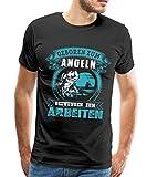 Spreadshirt Geboren Zum Angeln Angler Spruch Männer T-Shirt, XXL, Schwarz