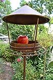 Gartenstecker 140 cm-Vogelfutterhaus - Futterstelle mit Haus und Körner-Wasserschale für Meisenknödel