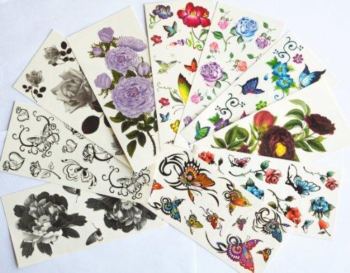 10pcs/package heißer Verkauf Tattoo-Aufkleber verschiedenen Ausführungen einschließlich schwarz butterlies und Blumen / schwarz Pfingstrose / schwarze Rosen / bunte Schmetterlinge und Blumen / Rosen / etc.