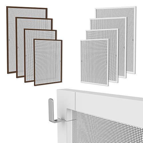 Klemmfix Fliegennetz Fenster Aluminium Rahmen Weiss Größe 130cm*150cm Fliegengitter OHNE Bohren Insektenschutz Gitter Fiberglas