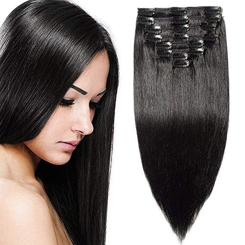 Clip in Extensions Echthaar Remy Haarverlängerung für komplette Haare 8 Tressen Doppelt Dicke 50cm-150g(#1 Schwarz)