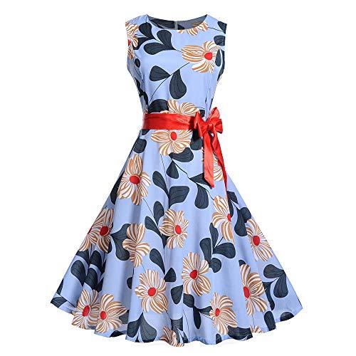 MISSWongg Damen Elegant Kleid Ärmelloses mit rosa Drucken für Vintage Cocktailkleid Rockabilly Retro Schwingen Kleid Faltenrock Swing Kleid