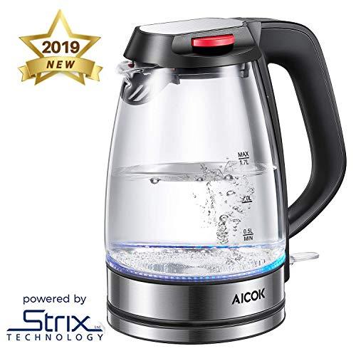 Hervidor de Cristal con iluminación LED Aicok 1.7 L Hervidor de Agua Eléctrico, 2200 W, Libre de BPA, Apagado Automático y Sistema de Protección Contra la Ebullición en Seco, Inalámbrico