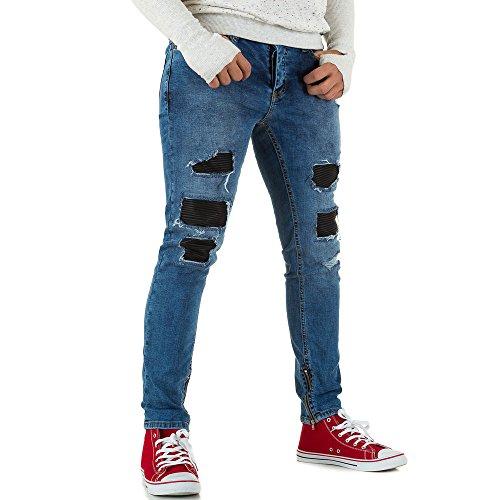 Destroyed Slim Fit Biker Jeans Für Herren bei Ital-Design Blau