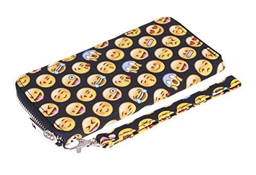 Grande Emoticon Kukubird Emoticon Frizione Pelle Unisex Reticolo Pattern Black Portafoglio Nero wq7f7x0aT