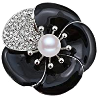 FENGJI Large Poppy Black Remembrance Pin Brooch Banquet Crystal Pearl Flower Badge Gift Black