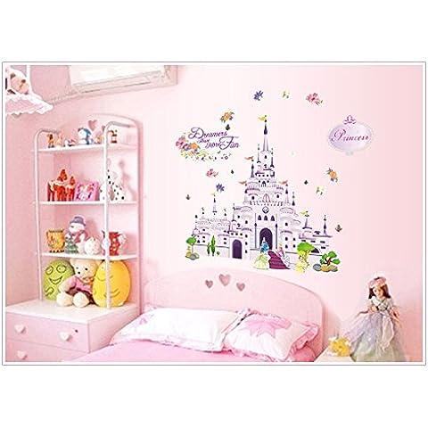 Adhesivo para pared con forma de castillo, flores y mariposas - XMK-A0002TX