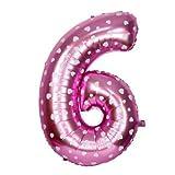Number Foil Balloons 6 - Pink, Foil Ball...