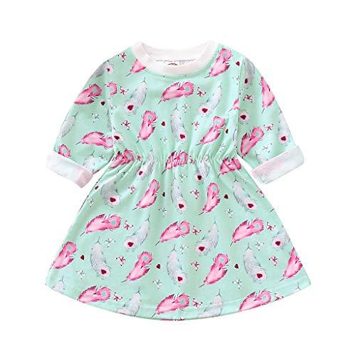 bobo4818 Kleinkind Baby mädchen Prinzessin Blumendruck Kleider Baumwolle Kleidung Outfits for 6M-4 Jahre