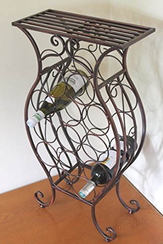 Botelleros   Botellero con estructura decorativa de metal para 13 botellas con patas y estantería   OFERTA