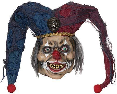 Fancy Me Herren Gruselig Halloween Hofnarr Gummi mit Kapuze Kostüm Kleid Outfit Maske