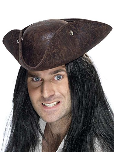 Chapeau tricorne pirate marron