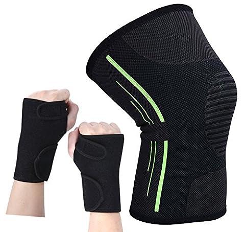 genou support de poignet pour poignet, genou Kapmore kit Sports de compression pour le genou support Protector manches avec support de poignet à la main du canal carpien Attelle pour course à pied Cyclisme Jogging exercices de randonnée et d