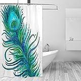 COOSUN Pfauenfeder Print Duschvorhang, Polyester-Gewebe Badezimmer Duschvorhang, 66 x 72-inch 66x72 Mehrfarbig