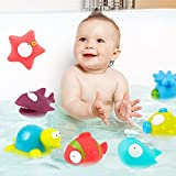 Enlarge toy image: Leegoal(TM) 9-Pack Floating Bath Toy, Baby Bathtime Toys for Infant Baby Toddlers Shower Gift,Squirts Bath Toys with Storage Box,Assorted Characters