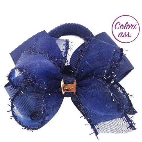 108 – 609 a – élastique avec double nœud cm 6 tissu canetè et organza bord Glitter – élastiques pour fille bleu