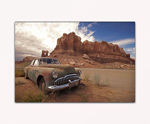 deinebilder24 Kunstdruck Leinwand - 80 x 120 cm - Alter verlassener Oldtimer im Grand Canyon Gebirge