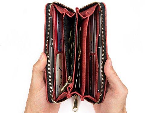 SIMARU borsa porta soldi / borsellino da donna in cuoio di sughero / sughero (vegano), portamonete con grande scompartimento per monete, molte fessure per carte e altri scomparti �?Turchese Rosso