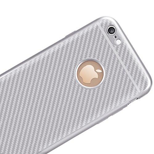Custodia per Apple iPhone 7 Plus/iPhone 8 Plus ,GrandEver Fibra di Carbonio Ibrida Silicone TPU Flessibile Morbida AntiGraffio Antiurto Shock-Absorption Bumper Protettiva Cover Case - Nero Argento