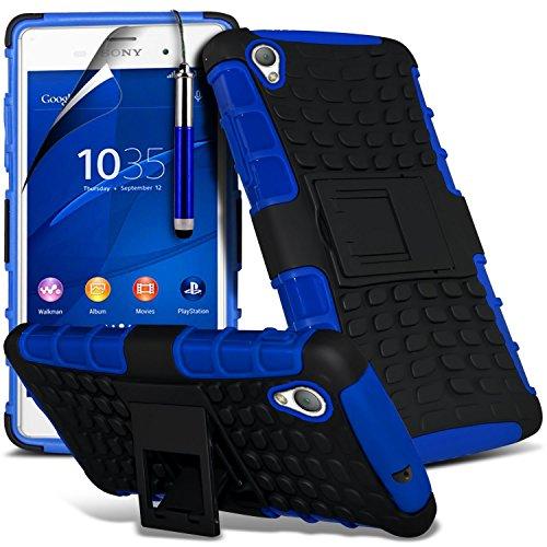 (Rose) Sony Xperia Z3+ Haute Qualité Durable dur Shock Survivor dur Rugged Proof étui cas Heavy Duty avec stand Retour Skin étui cas Cover & Screen Protector Par i-Tronixs Shock proof + Pen (Blue)