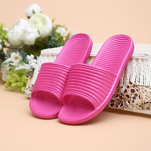 LEPAKSHI Women Rose Red, 7.5 : Couple Summer Casual Men Women Slipper Fashion Striped Hous ehold Home Floor Non-slip Indoor Shoe Ladies Slippers Mujer Pantufla