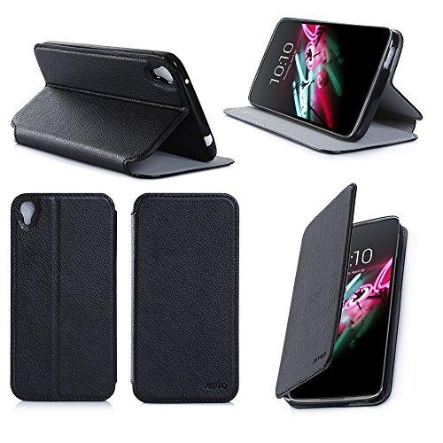 Alcatel Onetouch IDOL 3 5.5 zoll 4G/LTE Dual Sim Tasche Leder Hülle schwarz Cover mit Stand - Zubehör Etui Alcatel Idol 3 5.5 Flip Case Schutzhülle (PU Leder, Handytasche schwarz black) - XEPTIO accessories