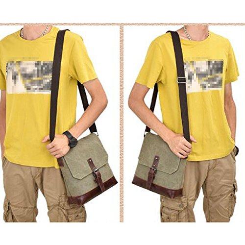 Männer Retro-Sturdy Dauerhaft Beiläufige Quadratische Tasche Einzelne Schulterbeutel Multicolor Green