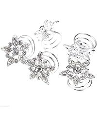 Joyas Ant Symphony pelo joyas boda novia joyas curlies espirales horquillas Flores transparentes, transparente