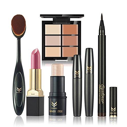 Meisijia Maquillage Set Matte Lipstick Surligneur Stick Eyeliner Crayon Concealer Palette Mascara Oval Brush